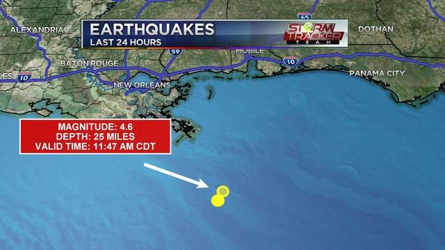 Earthquake shakes ocean floor off the Louisiana coast