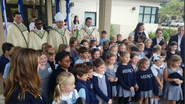 Bishop Michael Duca blesses new building at Our Lady of Mercy
